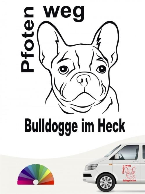 Pfoten weg Bulldogge im Heck Autoaufkleber anfalas.de