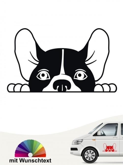 Französische Bulldogge Comic Hunde Kopf Autoaufkleber mit Wunschtext von anfalas.de