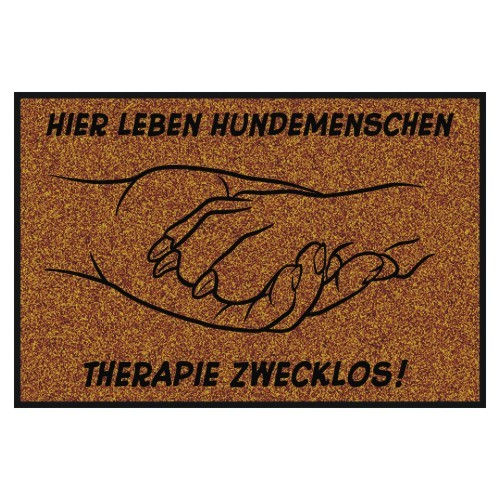 Fußmatte Hundemotiv Hand in Pfote Anfalas.de
