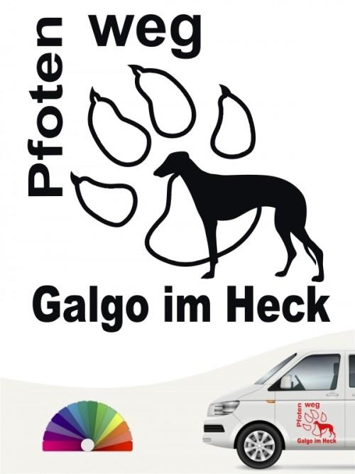 Pfoten weg Hundeaufkleber Galgo anfalas.de
