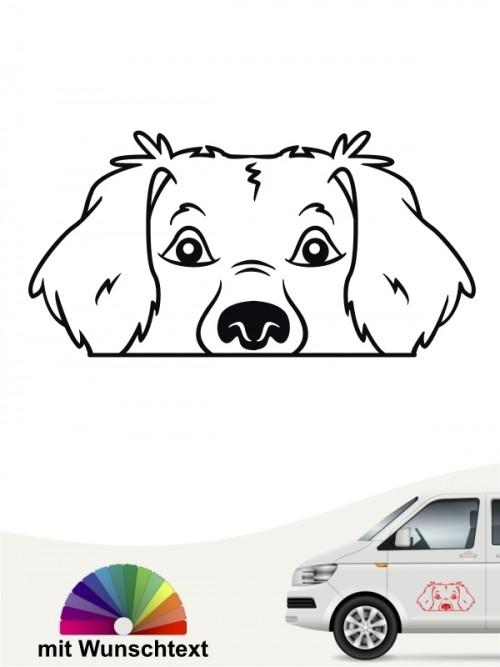 Golden Retriever Comic Hunde Kopf Autoaufkleber mit Wunschtext von anfalas.de