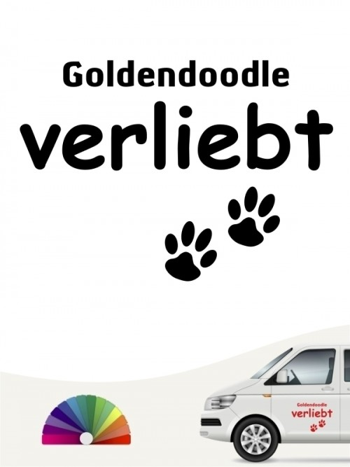 Hunde-Autoaufkleber Goldendoodle verliebt von Anfalas.de
