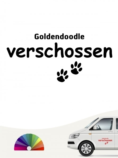Hunde-Autoaufkleber Goldendoodle verschossen von Anfalas.de