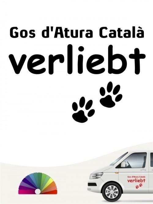 Hunde-Autoaufkleber Gos d'Atura Català verliebt von Anfalas.de