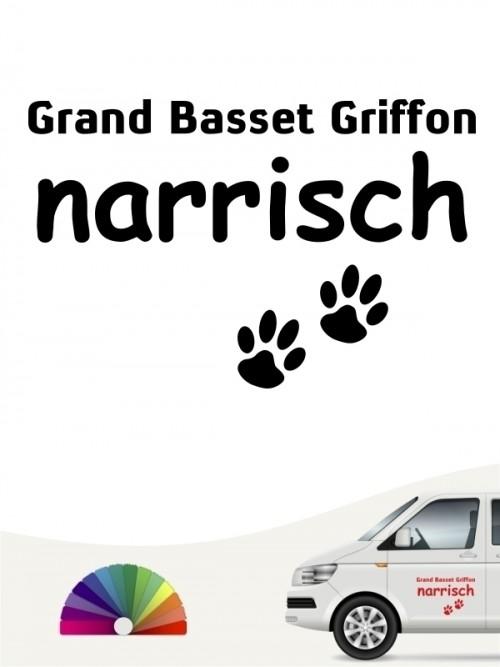 Hunde-Autoaufkleber Grand Basset Griffon narrisch von Anfalas.de