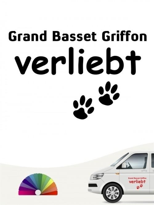 Hunde-Autoaufkleber Grand Basset Griffon verliebt von Anfalas.de