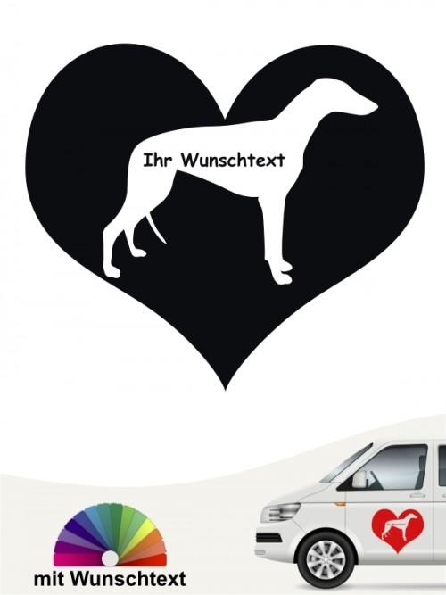 Greyhound Herzmotiv Sticker mit Wunschname anfalas.de