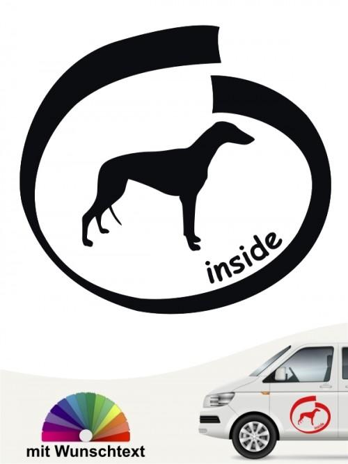 Greyhound inside Hundeaufkleber mit Wunschtext anfalas.de
