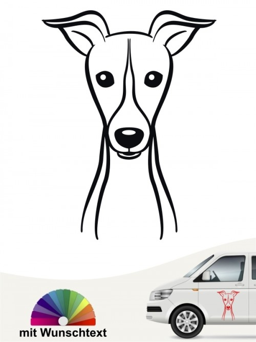Greyhound Heckscheibenaufkleber mit Wunschtext anfalas.de