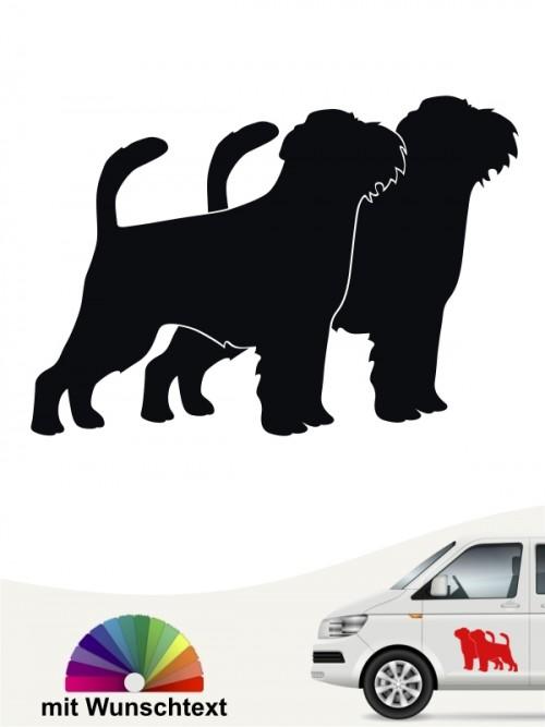 Griffon Bruxellois doppel Silhouette Sticker mit Wunschname von anfalas.de