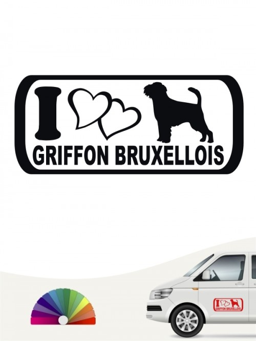 Griffon Bruxellois I Love Heckscheibenaufkleber von anfalas.de