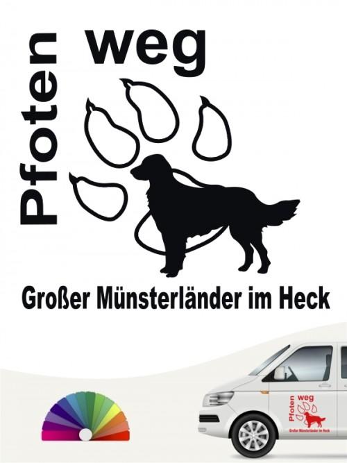 Pfoten weg Großer Münsterländer im Heck Sticker von anfalas.de