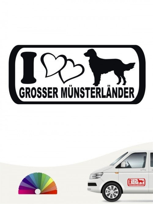 Großer Münsterländer I Love Hundeaufkleber von anfalas.de