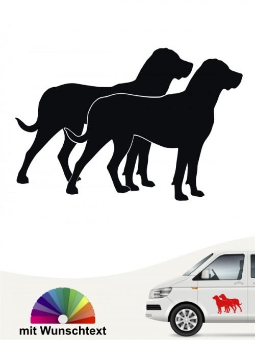 Grosser Schweizer Sennenhund doppel Silhouette Hundeaufkleber mit Wunschtext von anfalas.de