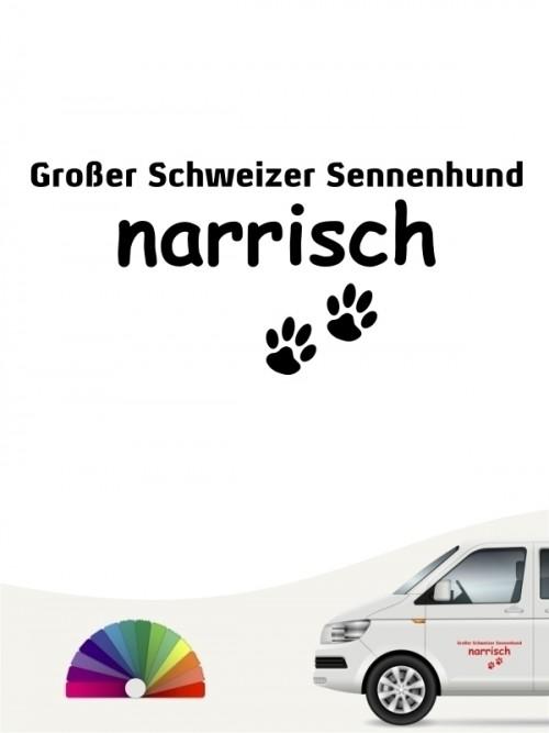 Hunde-Autoaufkleber Großer Schweizer Sennenhund narrisch von Anfalas.de