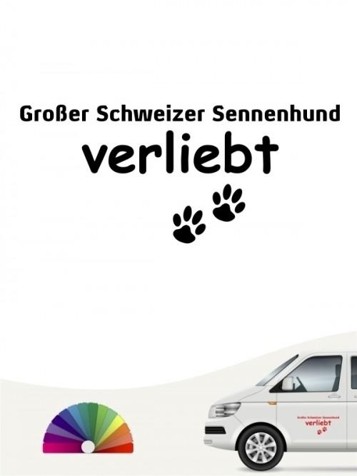 Hunde-Autoaufkleber Großer Schweizer Sennenhund verliebt von Anfalas.de