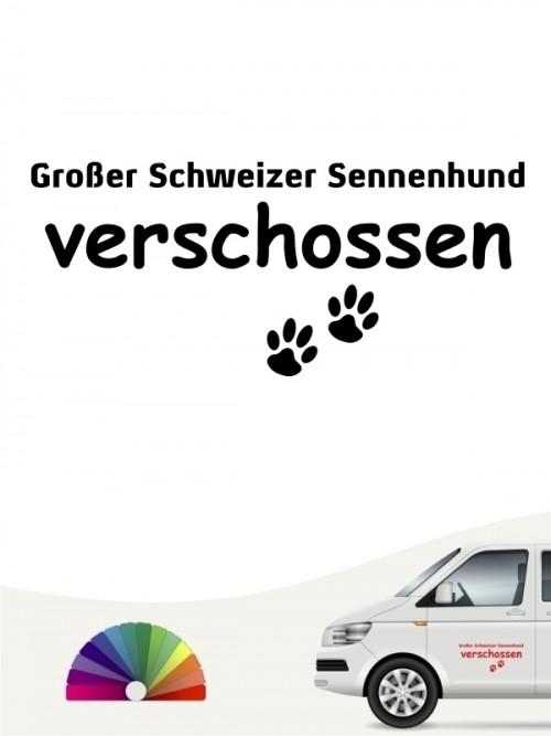 Hunde-Autoaufkleber Großer Schweizer Sennenhund verschossen von Anfalas.de