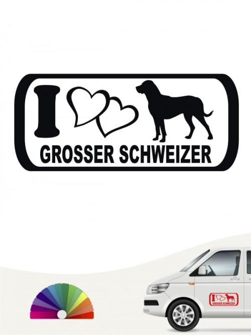 Grosser Schweizer Sennenhund i Love Heckscheibenaufkleber von anfalas.de