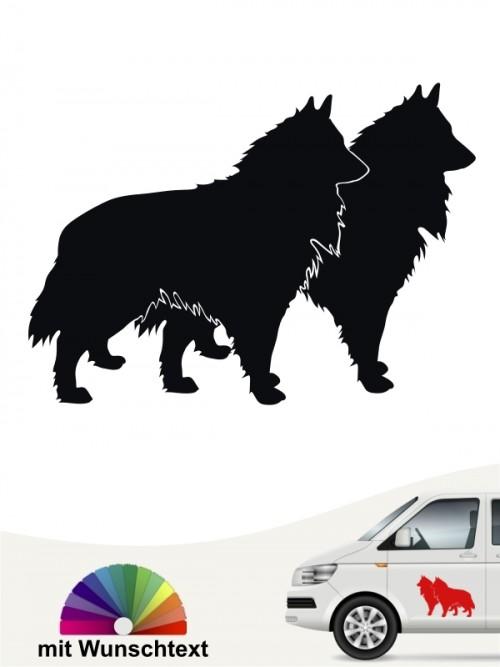 Groenendael Hundesticker doppel Silhouette mit Wunschname von anfalas.de