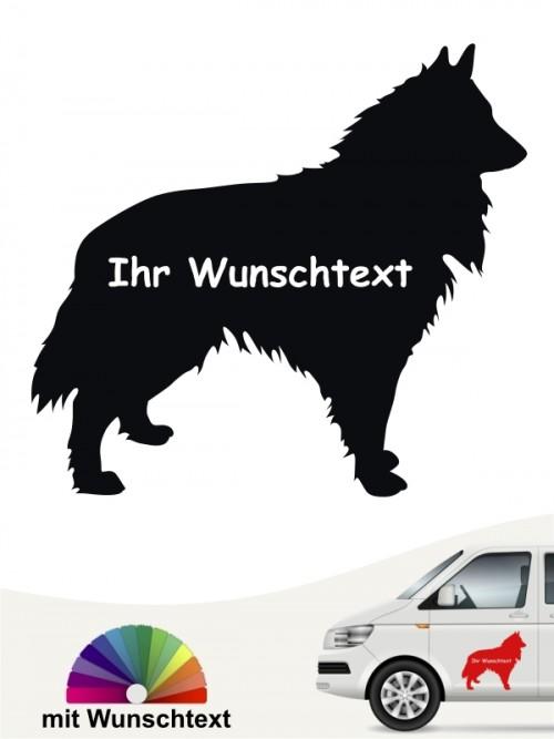 Groenendael Hundeaufkleber Silhouette mit Wunschname von anfalas.de