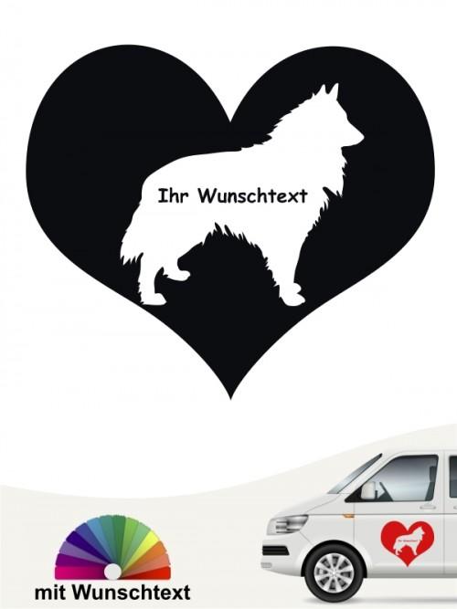 Groenendael Herzmotiv Sticker mit Wunschname von anfalas.de