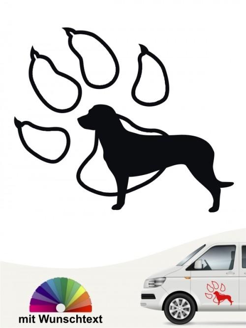 Hannoverscher Schweißhund mit Pfote und Wunschtext von anfalas.de