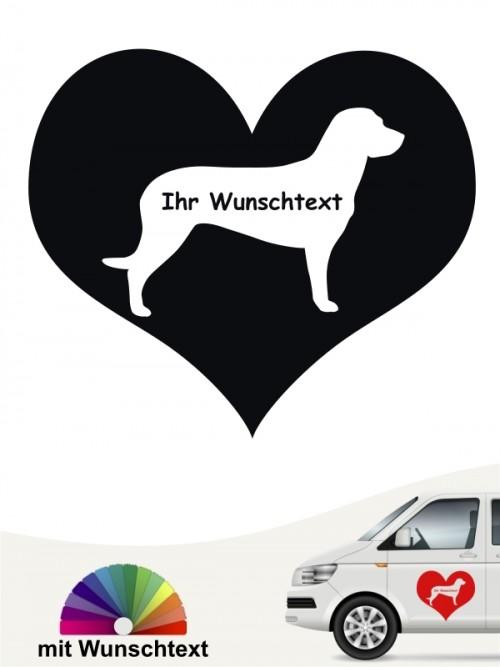 Hannoverscher Schweißhund Herzmotiv mit Wunschname von anfalas.de