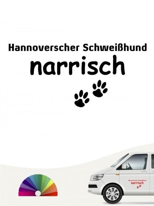 Hunde-Autoaufkleber Hannoverscher Schweißhund narrisch von Anfalas.de