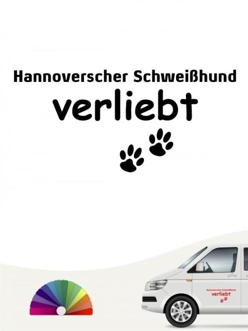 Hunde-Autoaufkleber Hannoverscher Schweißhund verliebt von Anfalas.de