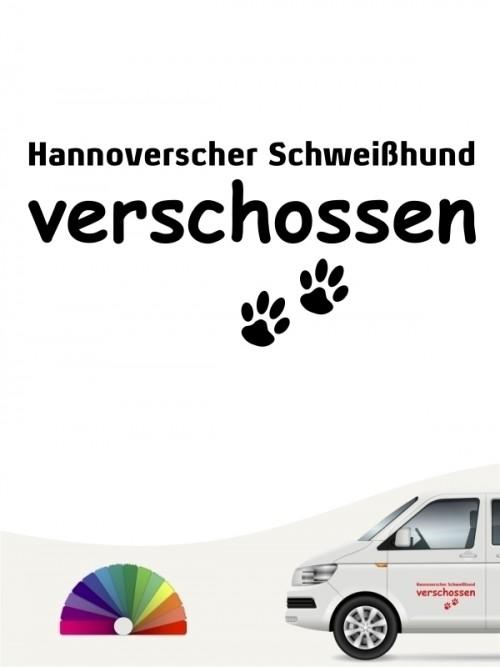 Hunde-Autoaufkleber Hannoverscher Schweißhund verschossen von Anfalas.de