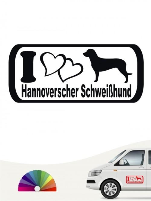 Hannoverscher Schweißhund I Love Aufkleber von anfalas.de
