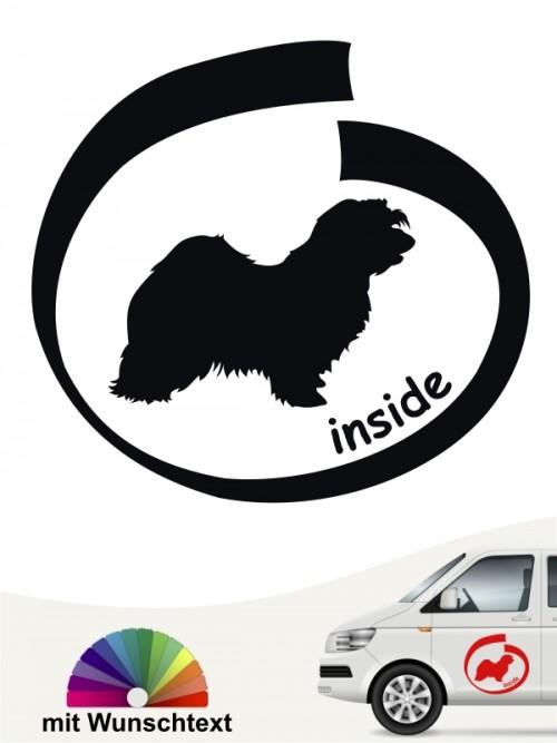 Havaneser inside Hundeaufkleber mit Wunschtext von anfalas.de