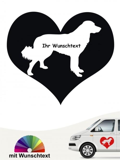 Hovawart Herzmotiv mit Wunschtext Autoaufkleber von anfalas.de