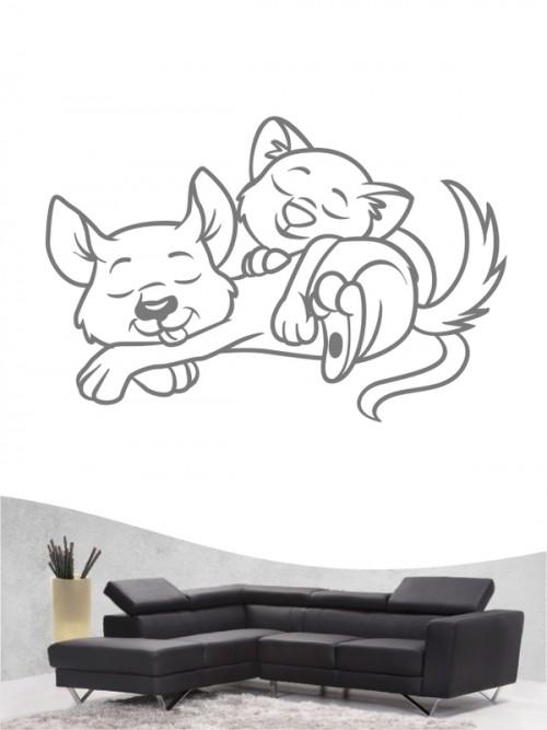 Hund & Katze 1 - Wandtattoo