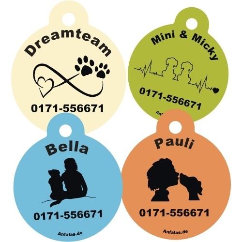 Hundemarke mit Wunschname und Hundemotiv von Anfalas.de