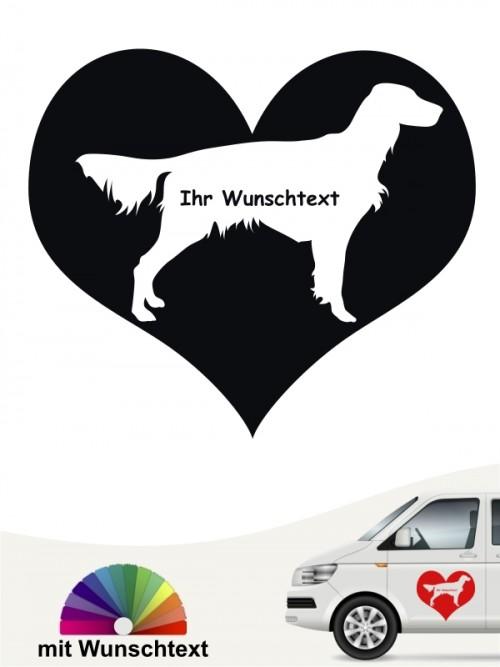 Irish Red Setter Herzmotiv Sticker mit Wunschtext von anfalas.de