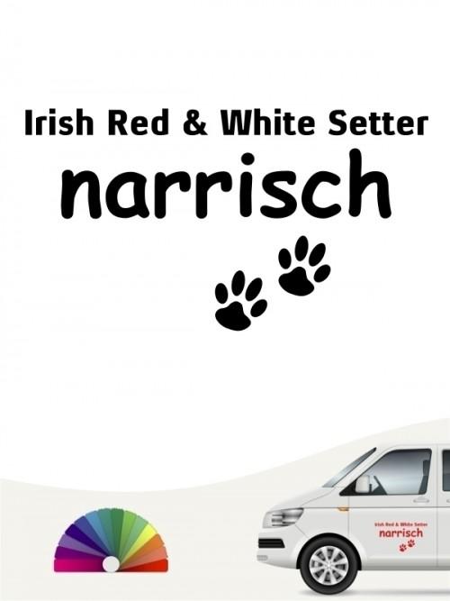 Hunde-Autoaufkleber Irish Red & White Setter narrisch von Anfalas.de