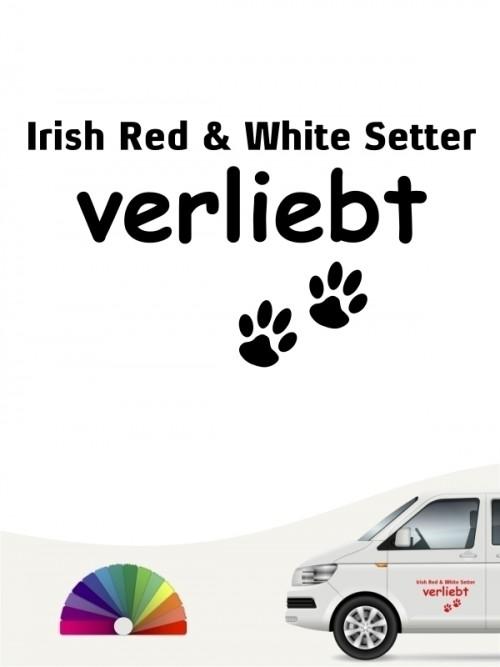 Hunde-Autoaufkleber Irish Red & White Setter verliebt von Anfalas.de
