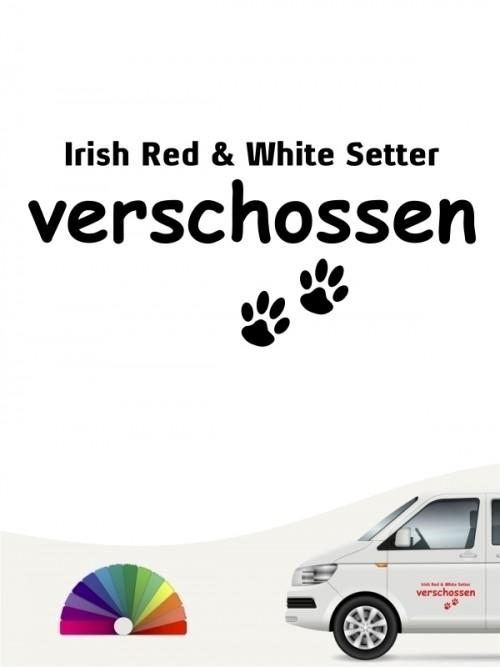 Hunde-Autoaufkleber Irish Red & White Setter verschossen von Anfalas.de