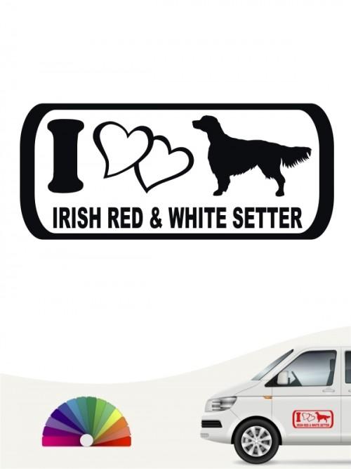 Hunde-Autoaufkleber Irish Red & White Setter 6 von Anfalas.de