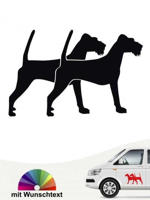 Doppel Silhouette Sticker Irish Terrier mit Wunschtext von anfalas.de