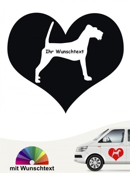 Autosticker Irish Terrier Herzmotiv Silhouette mit Wunschname von anfalas.de