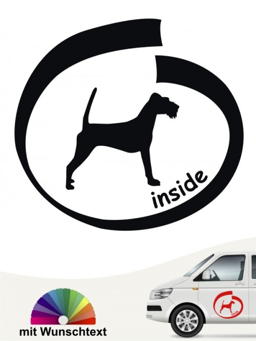 Irish Terrier inside Hundeaufkleber mit Wunschname von anfalas.de