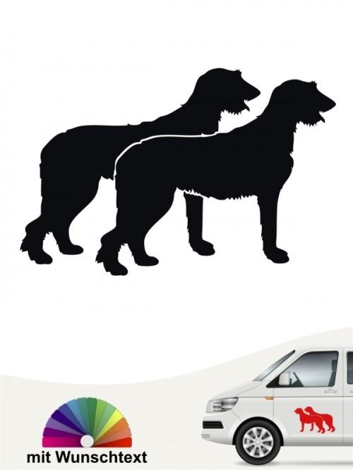 Doppelte Irish Wolfhound Autosticker Silhouette mit Wunschtext von anfalas.de