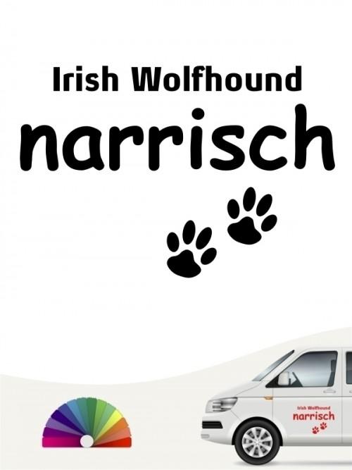 Hunde-Autoaufkleber Irish Wolfhound narrisch von Anfalas.de