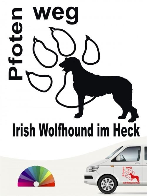 Autosticker Pfoten weg Irish Wolfhound im Heck von anfalas.de