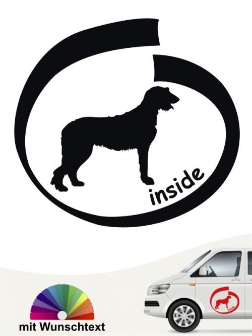 Irish Wolfhound inside Autoaufkleber mit Wunschname von anfalas.de