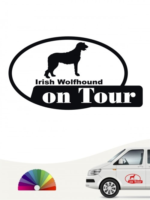 Hundeaufkleber Irish Wolfhound on Tour von anfalas.de