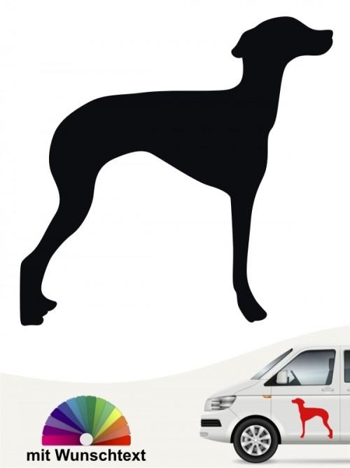 Ital. Windspiel Hundeaufkleber mit Wunschtext von anfalas.de