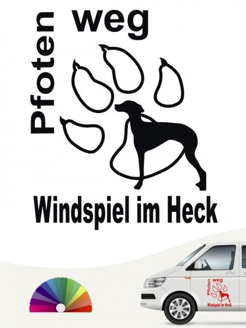 Heckscheibenaufkleber Pfoten weg Windspiel im Heck von anfalas.de